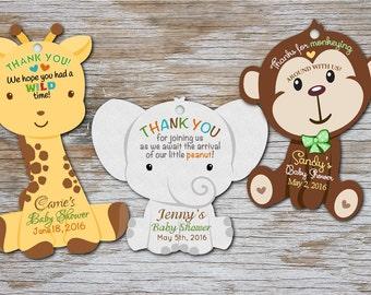 Baby Shower Tags - Monkey, Giraffe, Elephant - Thank You Tags - Gift Tag, Safari, Birthday Party Tags, Jungle Safari Hang Favor Tags