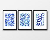 blue paintings, Set of 3 prints, blue watercolor prints, nautical style