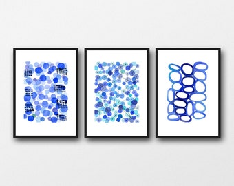 cobalt blue abstract painting, abstract modern art, blue paintings, Set of 3 prints,  watercolor blue prints, nautical style
