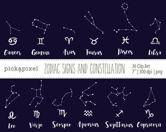 Horoscope Signs, Zodiac Signs and Constellation Clip Art, Black and White clip art, Zodiac clip art, Stars Constellation