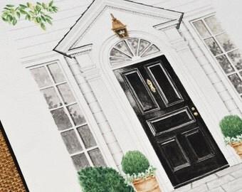 8X10 Custom Front Door Watercolor Rendering Entryway
