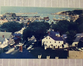 Vintage 3.5 x 5.5 Rockport Harbor Postcard, Cape Ann Massachusetts, The Old Sloop Church, Nautical Sailboats, Mike Roberts