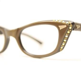 Unused Brown Rhinestone Cat Eye Glasses Cateye Frames Vintage Eyewear 1960s Eyeglasses New Old Stock