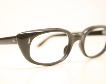 Black Cat Eye Glasses Cateye Eyeglasses NOS Vintage Glasses