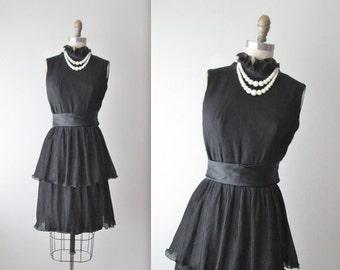 STOREWIDE SALE 60's Chiffon Dress // Vintage 1960's Black Pleated Chiffon Cocktail Party Dress XS
