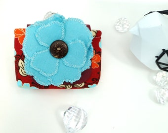 Beautiful Business  / Contact Card Holder Vegan Leather Strap With Fabric Flower