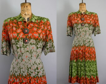 1940s dress / 40s dress large / floral print dress / New York Creation dress / WWII dress