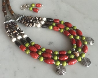 Vintage style cascade necklace set, brick red sponge coral, statement, big, bold, beaded, African carved beads, olive beads