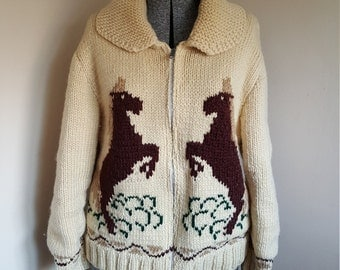 Vintage 1960's Cowichan Sweater With Horses Front and Back