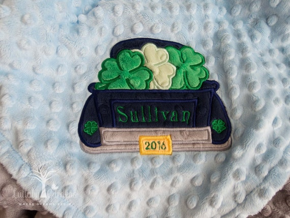 Personalized Baby Gifts Ireland : Personalized minky baby blanket appliqued truck