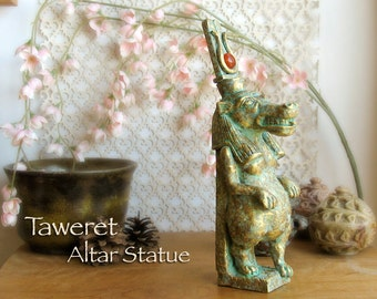 Taweret Altar Statue - Handcrafted Hippopotamus Deity - Carnelian Solar Disc - Patron of Childbirth, Rebirth, the Northern Sky & Protection