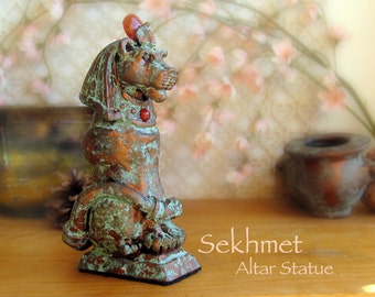 Sekhmet Altar Statue - Lioness Goddess - She Who Is Powerful - Handcrafted Statue with Carnelian Solar Disc - Aged Copper Patina Finish