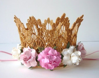 First Birthday Baby Gold Lace Crown - Pink and Ivory Flowers - Baby Gold Crown - Photo Prop - First Birthday Cake Smash - Baby Gold Crown