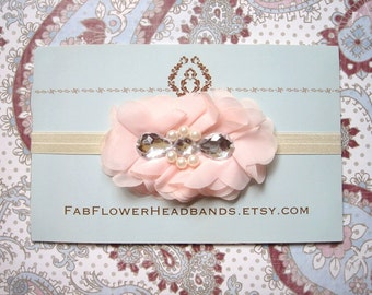 Pale Peach Baby Headband - Blush Newborn Headband - Light Peach Flower Headband - Rhinestone - Ivory Headband - White Headband