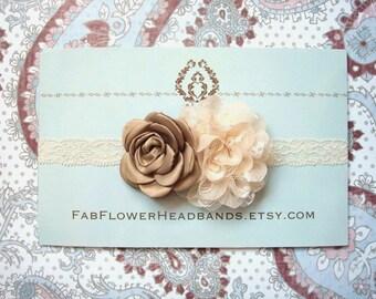 Mocha and Cream Ivory Vintage Look Newborn Headband - Ivory Lace Baby Headband - Rustic  Headband - Beige Ivory Headband - Lace Headband