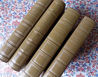 Anitque Books - Victor Hugo Les Miserables - Leather Covers! - French Cottage Chic