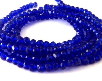 46 TINY cobalt blue beads, Chinese crystal, 4mm x 3mm, cobalt rondelles, tiny royal blue beads