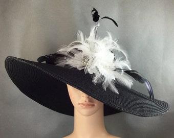 White feather Flower Derby Hat, Fascinator,Black Kentucky Derby Hat,Church Hat, Dressy Hat ,Formal Hat, Wedding Hat,Special Occasion