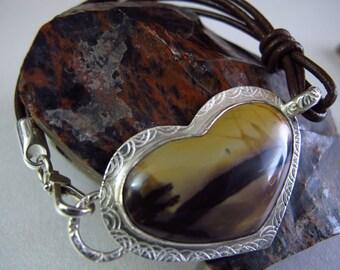 Artisan Purple Jasper Bracelet, Large Heart Cabochon Bracelet, Sterling Silver Brown Knotted Leather Cowgirl Bracelet, Stone Tribal Bracelet