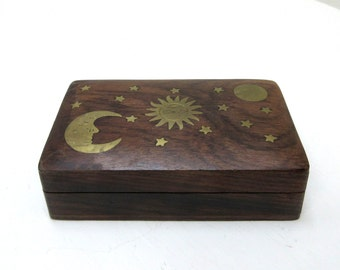 Vintage Wooden Jewelry Box / Trinket Box / Treasure Box With Brass Sun, Moon And Sars Inlay