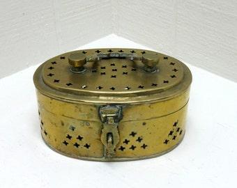 Vintage Brass Cricket Box / Trinket box / Potpourri Box
