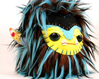 Cute Plush Monster Stuffed Animal Toy Monster Kawaii Plushie Teal Brown Yellow Snuggly Faux Fur Toy 7 inches tall medium size
