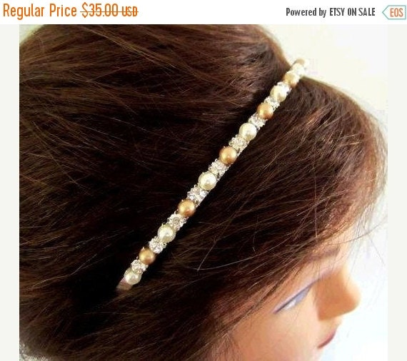 ON SALE Gold and Ivory Pearl Headband. Gold Bridal Headband. Swarovski Pearl Headband.