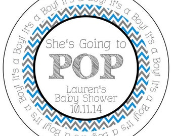 she's going to pop chevron baby boy stickers, blue baby shower stickers, blue chevron baby shower, personalized going to pop baby shower