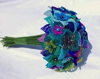 Medium Peacock French Beaded Flower Wedding Bouquet