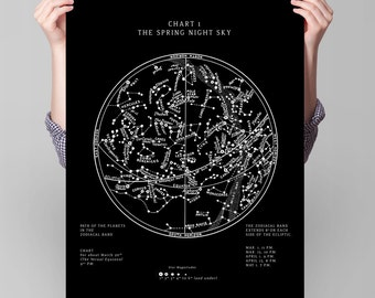 Star Chart Constellations of the Spring Night Sky
