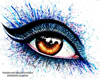 Signed Art Print Colorful Eye 2 Painting Pop Art Makeup 5x7, 8x10, or Apprx 11x14 - Pretty Fashion Edgy Brown Eye With Blue Splatter Makeup