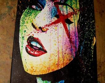 ORIGINAL 11x14 in Watercolor Painting - Horror Show - Lowbrow Pop Art Edgy Fashion Portrait - Alternative Art Rainbow Splatter Portrait