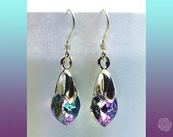 Hook Earrings 10mm Light Purple Violet Levender AB Swarovski Crystal Hearts Silver Earrings with Silver Bale and Sterling Silver Ear Hooks