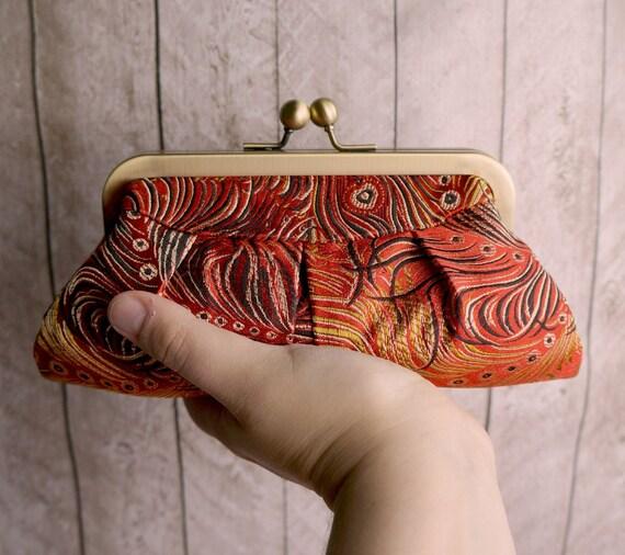 Small Fire Phoenix Clutch Purse. Mini red clutch, brocade clutch, Clutch bag in red peacock print.