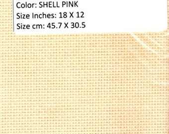 GT 256 - Aida, 14 Count,Shell Pink, 18 X 12 inches, 45.7 cm X 30.5 cm, Cut Fabric Collection