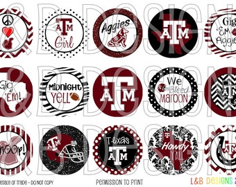 "1"" Bottle Cap Image Sheet - Texas A&M"
