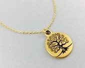 Tree of life necklace, gold tree necklace, tree pendant, tree necklace, woodland necklace, tree of life charm, bridesmaids gifts