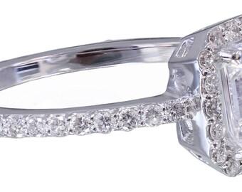 14k white gold emerald cut diamond engagement ring halo 1.50ct H-VS2 EGL US Cert