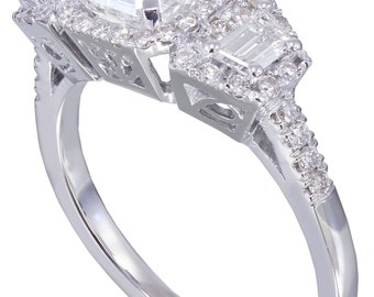 GIA G-VS2 18k white gold asscher cut diamond engagement ring Halo 2.50ctw