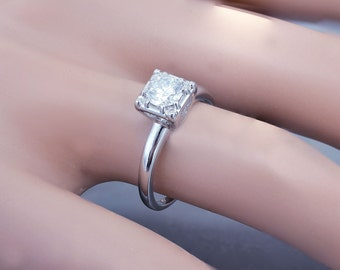 14k White Gold Round Cut Diamond Engagement Ring Art Deco Antique Style Prong 0.70ct