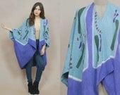 Cocoon Jacket 80s Kimono Abstract Print Layering Boho 1980s Cape Duster Avant Garde Purple Bohemian Ethnic Hippie Draped / OS One Size