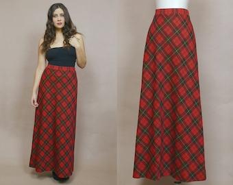 Plaid Skirt 70s Maxi High Waisted Red Tartan A Line 1970s Hippie Checkered Boho Grunge Knit / Size M Medium