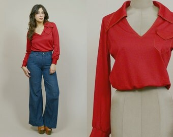 70s Top Pointed Collar Dark Red V Neck Long Sleeve Blouse Elastic Waist Crop Top 1970s Hippie Mod Blouson / Size M Medium