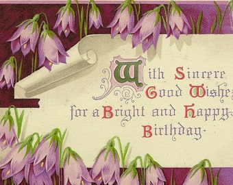 Vintage Birthday Postcard Purple Spring Snowdrops and Charming Verse of Birthday Wishes