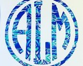 Lilly Pulitzer Inspired Vinyl Monogram Decal / Car Decal