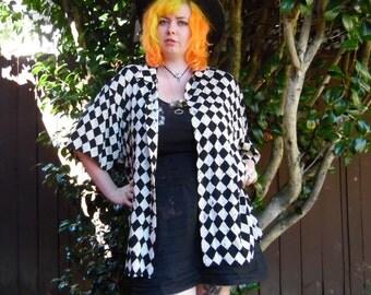 70s/80s Jams World Checkered Diamond Black and White Poker Clubbing Disco Novelty Button Up XL