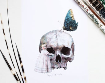 Halloween gothic skull baby and butterfly art print A4