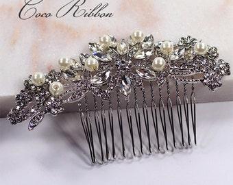 Silver Bridal Hair Comb, Vintage Style Crystal Wedding Jewelry Bridesmaid Rhinestone Pearl Hair Pin Accessory E14