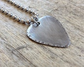 Men's Rustic Guitar Pick Necklace, Stainless Steel Jewelry, Gift For Him, Dad Gift, Boyfriend Gift, Groomsmen Gift, Musician Necklace