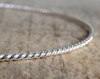 Sterling Silver Rope Bangle, Twist Bangle, Nautical Bracelet, Silver Stacking Bangle, Rope Pattern, Gift For Women, Bohemian Jewelry